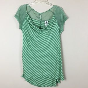 Anthropologie Mesh and Striped Top